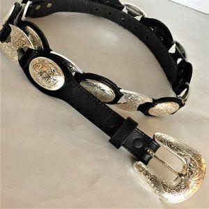 TONY LAMA VTG Black Western Leather Concho Belt